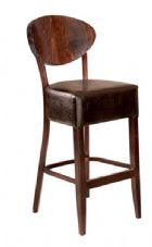 Sofia Wooden High Stool with Upholstered Seat